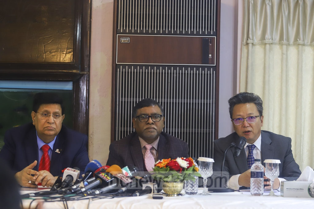 Chinese Ambassador Li Jiming speaking at an event in Dhaka on Tuesday to mark the hand-over of medical logistics as a goodwill gesture from Prime Minister Sheikh Hasina for the country's health workers who are fighting a deadly coronavirus outbreak. Photo: Asif Mahmud Ove