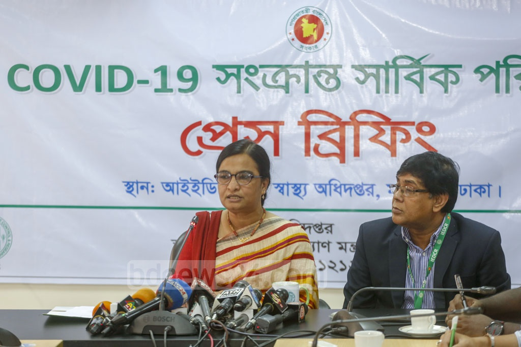 Prof Meerjady Sabrina Flora, the director of IEDCR, briefs the media on Tuesday on the health condition of Bangladeshis evacuated from China amid the new coronavirus outbreak. Photo: Mahmud Zaman Ovi