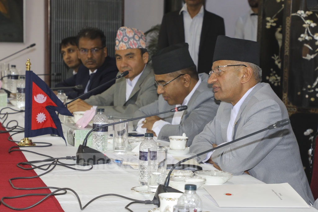 Nepalese Foreign Minister Pradeep Kumar Gyawali speaks at the secretary-level meeting with his Bangladeshi counterpart at the state guest house Meghna on Tuesday. Photo: Asif Mahmud Ove