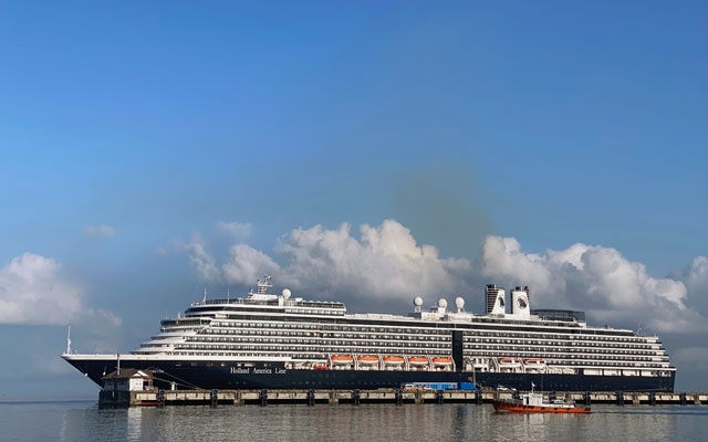 The cruise ship MS Westerdam at dock in the Cambodian port of Sihanoukville, Cambodia Feb 16, 2020. REUTERS