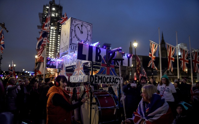 FILE - Brexit supporters celebrate Britain's departure from the European Union in London on Jan. 31, 2020. Immigration was one of the driving forces behind the 2016 Brexit referendum. (Mary Turner/The New York Times)