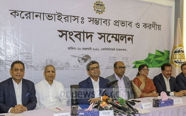 FBCCI President Sheikh Fazle Fahim addressing a media briefing at the apex trade organisation's auditorium on the effects of the novel coronavirus on trade in Bangladesh on Saturday.