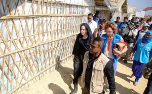 Actor Angelina Jolie visits a Rohingya refugee camp in Cox's Bazar, Bangladesh, Feb 5, 2019. REUTERS