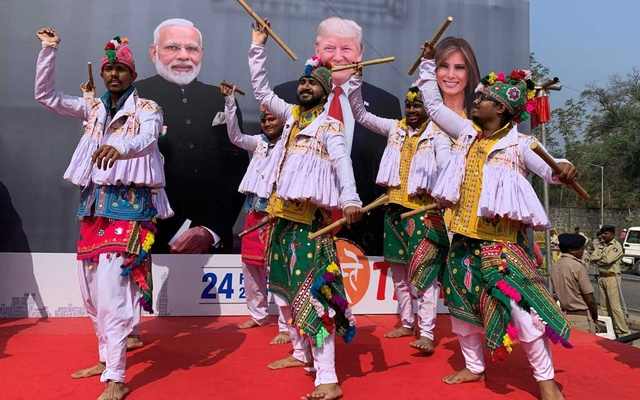 Participants perform Dandiya, a traditional dance, to welcome US President Donald Trump and first lady Melania Trump in Ahmedabad, India, Feb 24, 2020. REUTERS