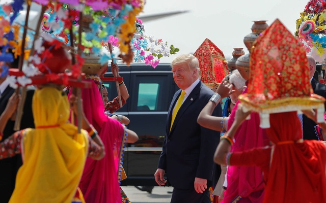 US President Donald Trump attends a welcoming ceremony as he arrives at Sardar Vallabhbhai Patel International Airport in Ahmedabad, India Feb 24, 2020. REUTERS