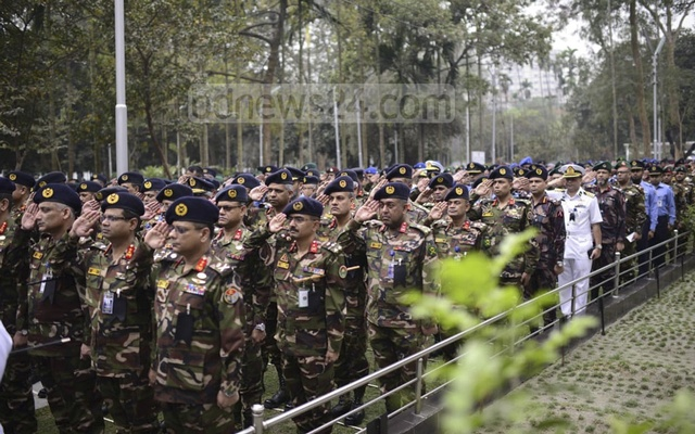 Military officers pay respects to the BDR mutiny victims at Dhaka's Banani Graveyard on Tuesday.