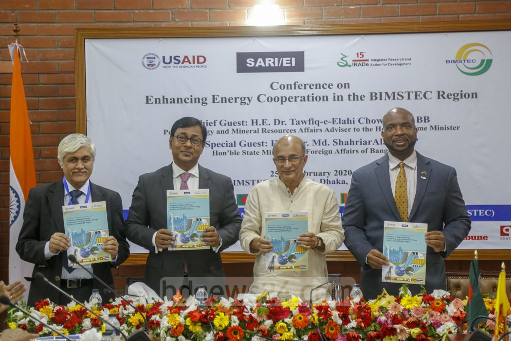 Guests unveil a report at a conference on enhancing regional energy cooperation at the BIMSTEC Secretariat in Dhaka's Gulshan on Tuesday. Photo: Mahmud Zaman Ovi