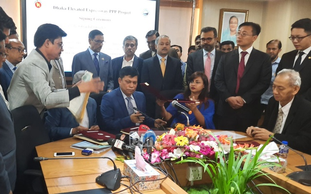 Obaidul Quader took questions from journalists after an event in Dhaka on Tuesday.
