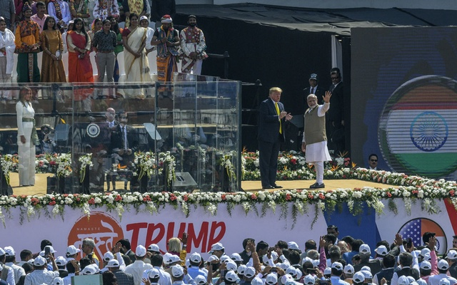 Indian Prime Minister Narendra Modi and President Donald Trump at Motera Stadium in Ahmedabad, India, Monday, Feb 24, 2020. The New York Times