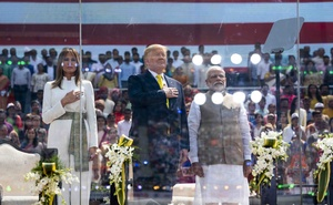President Donald Trump with Indian Prime Minister Narendra Modi at Motera Stadium in Ahmedabad, India, Monday, Feb 24, 2020. At left is first lady Melania Trump. The New York Times