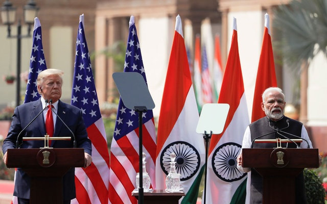 US President Donald Trump and Indian Prime Minister Narendra Modi make joint statements after bilateral talks at Hyderabad House in New Delhi, India, Feb 25, 2020. REUTERS