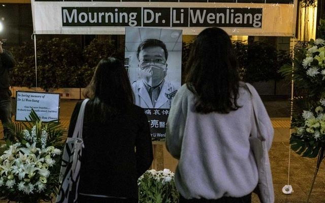 A makeshift memorial to Dr Li Wenliang, who tried to warn China about the coronavirus before it killed him, in Hong Kong on Feb 7, 2020. The New York Times