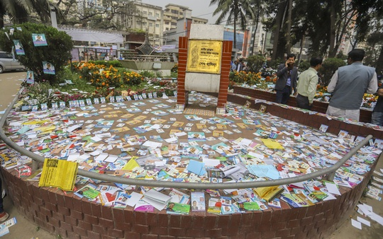 The garden at the National Press Club is covered on Thursday with campaign leaflets of Dhaka Union of Journalists on the eve of voting. Photo: Asif Mahmud Ove