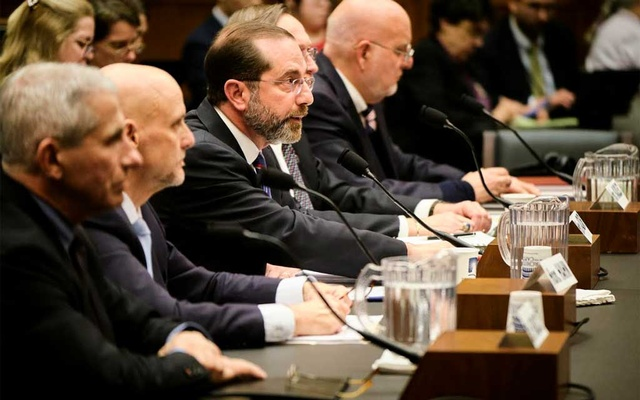 Health and Human Services Secretary Alex Azar, centre, testifies before a subcommittee hearing of the House Energy and Commerce committee on the nation's epidemic preparedness, in Washington, Wednesday, Feb 26, 2020.The New York Times