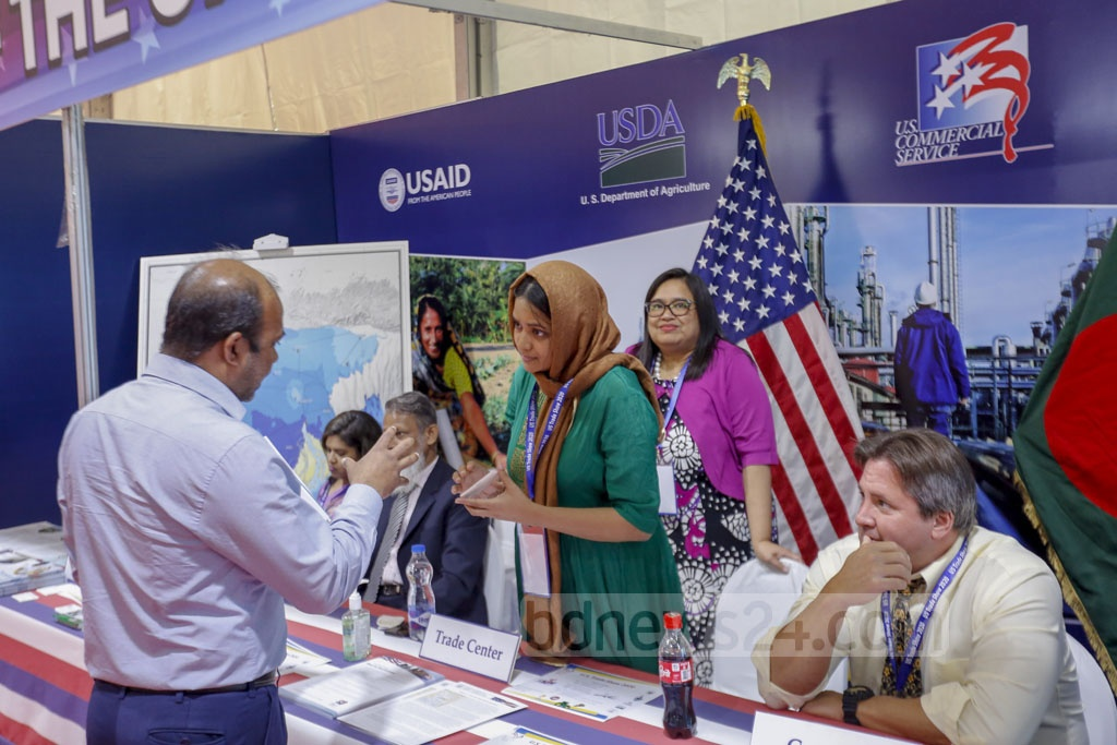 More than 100 companies are showcasing their products and services in at least 80 stalls in the three-day long US Trade Show this year, according to the AmCham. Photo: Mahmud Zaman Ovi