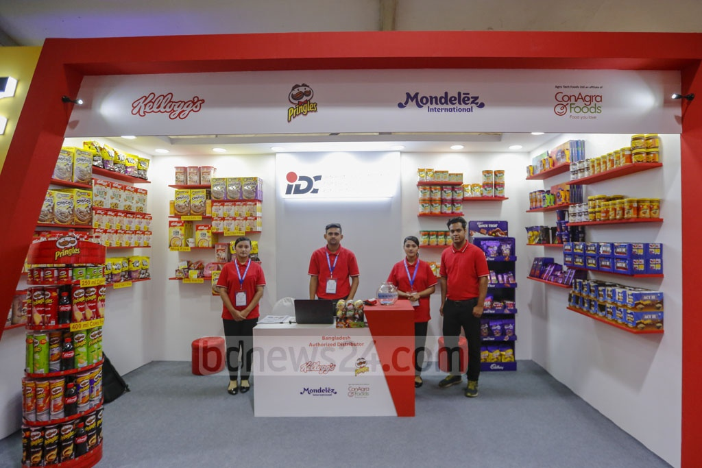 US-based companies showcasing their products and services at a stall in the 27th US Trade Show at the Pan Pacific Sonargaon Hotel in Dhaka on Thursday. Photo: Mahmud Zaman Ovi