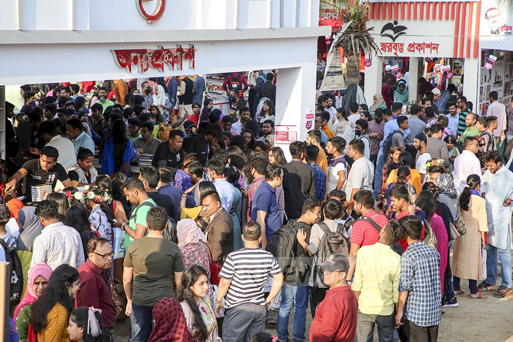 Book-lovers throng the Ekushey Book Fair in Dhaka on the final day on Saturday.