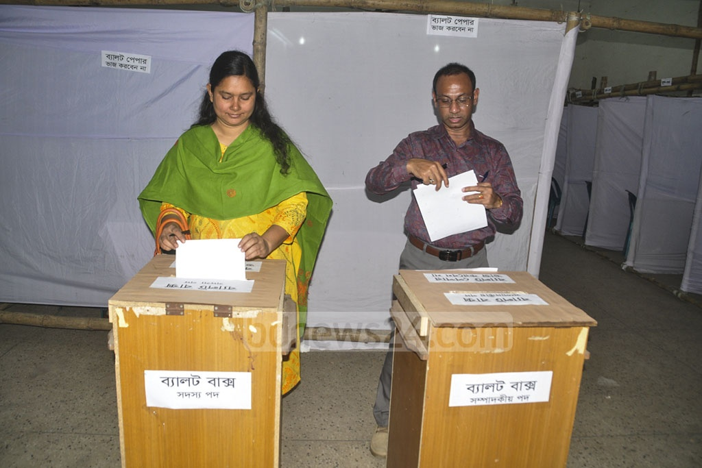 Voters casting their ballots in the Dhaka Union of Journalists or DUJ's election at the National Press Club on Saturday.