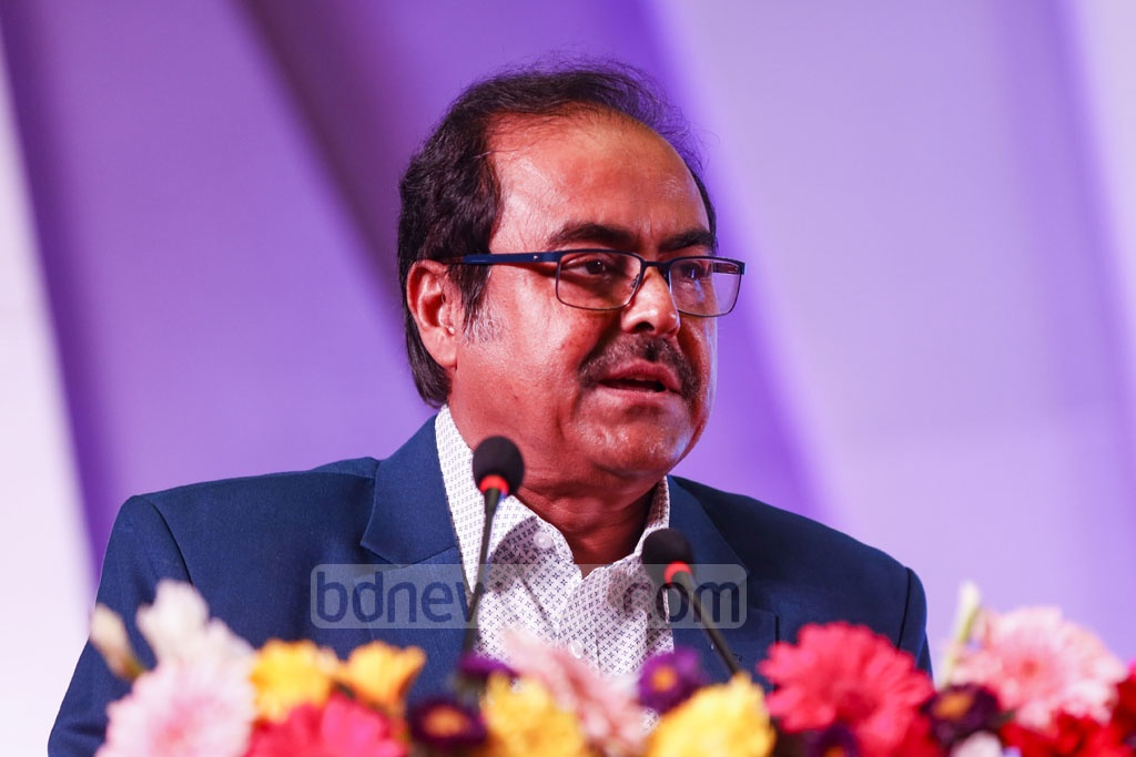 Md Ashadul Islam, senior secretary to the Financial Institutions Division, speaks at Sonali Bank's annual conference at the Bangabandhu International Conference Centre in Dhaka on Wednesday. Photo: Mahmud Zaman Ovi