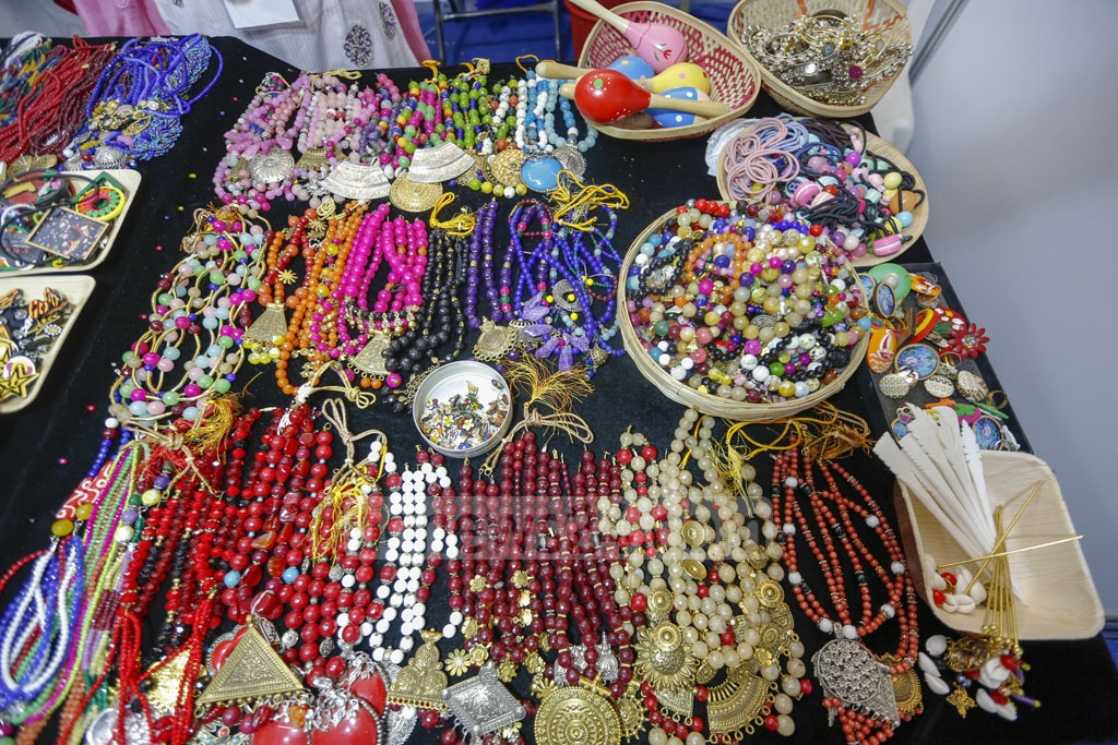 Products are on display at the National SME Product Fair at the Bangabandhu International Conference Centre in Dhaka on Thursday. Photo: Mahmud Zaman Ovi