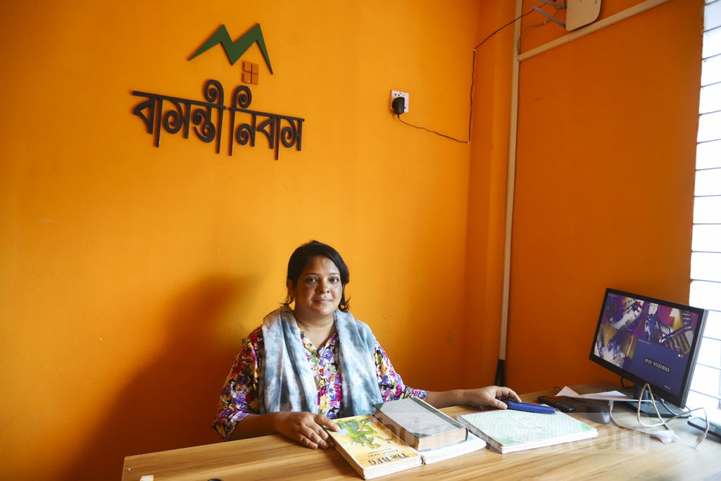 Bidyanondo volunteer Sultana Jannat Shikha, who is in-charge of reception at Bashonti Nibas, says the hotel for women is entirely under security camera surveillance. Photo: Asif Mahmud Ove