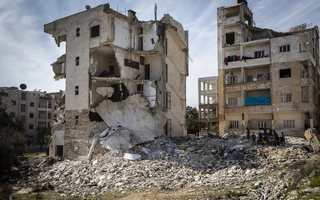 A building heavily damaged by an airstrike in Idlib, Syria, Mar 4, 2020. The New York Times