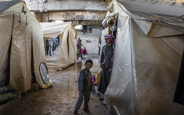 Displaced families living in a soccer stadium in Idlib, Syria, Mar 4, 2020. The New York Times