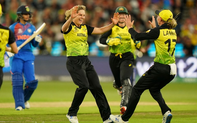 Sophie Molineux of Australia celebrates after dismissing Smriti Mandhana of India during the Women's T20 World Cup final cricket match between Australia and India at the MCG in Melbourne, Australia, Mar 8, 2020. REUTERS