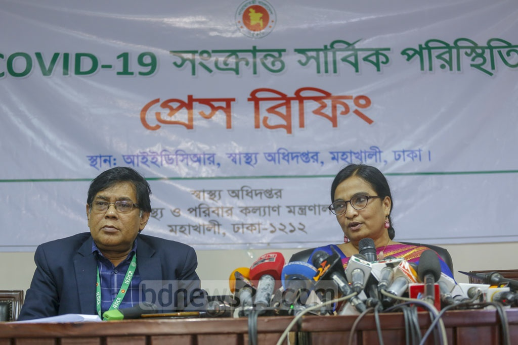 Meerjady Sabrina Flora, the director of IEDCR, briefs the media on Tuesday on the novel coronavirus situation in Bangladesh. Photo: Mahmud Zaman Ovi