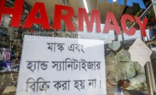 Increased demand created a shortage of masks and sanitisers, prompting traders to put up signboards on drugstores in Dhaka's Gulshan areas. Photo: Mahmud Zaman Ovi