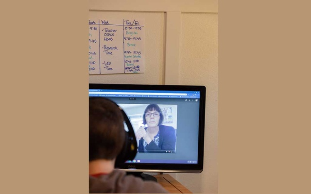 Nils Peistrup, 12, attends class remotely from his family's home in Bothell, Wash, a suburb of Seattle, on Monday, Mar 9, 2020. More than 20,000 K-12 schools in the United States are being shuttered because of worries about spreading the coronavirus, affecting at least 15 million students, most of whom will be asked to shift to online learning. The New York Times