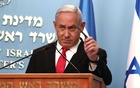 Israeli Prime Minister Benjamin Netanyahu gestures as he delivers a speech at his Jerusalem office, regarding the new measures that will be taken to fight the coronavirus, Mar 14, 2020. REUTERS