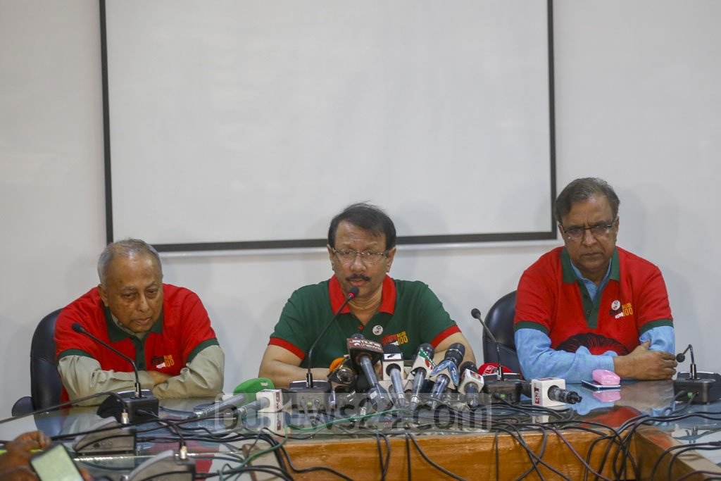 Kamal Abdul Naser Chowdhury, coordinator of the national implementation committee for Bangabandhu's 100th birth anniversary celebrations, speaking at a media briefing at the International Mother Language Institute auditorium on Monday. Photo: Mahmud Zaman Ovi