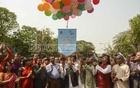 Vice-Chancellor Md Akhtaruzzaman inaugurates celebrations of Bangabandhu Sheikh Mujibur Rahman's birth centenary by releasing 100 balloons at the Dhaka University's Smriti Chironton premises on Tuesday.