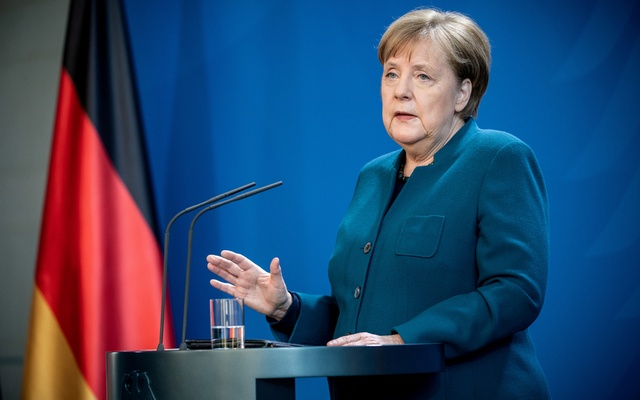 German Chancellor Angela Merkel gives a media statement on the spread of the new coronavirus disease (COVID-19) at the Chancellery in Berlin, Germany, March 22, 2020.