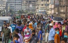 People rush to leave Dhaka through Babubazar Bridge on Wednesday as panic grew ahead of a national lockdown due to the coronavirus pandemic. Photo: Mahmud Zaman Ovi