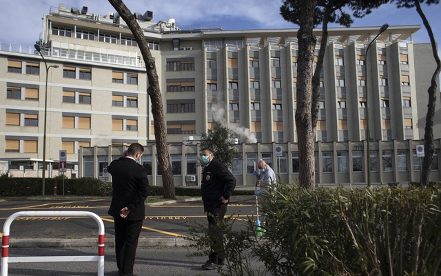 Outside a hospital, which is treating coronavirus patients, in Rome, March 19, 2020. The New York Times