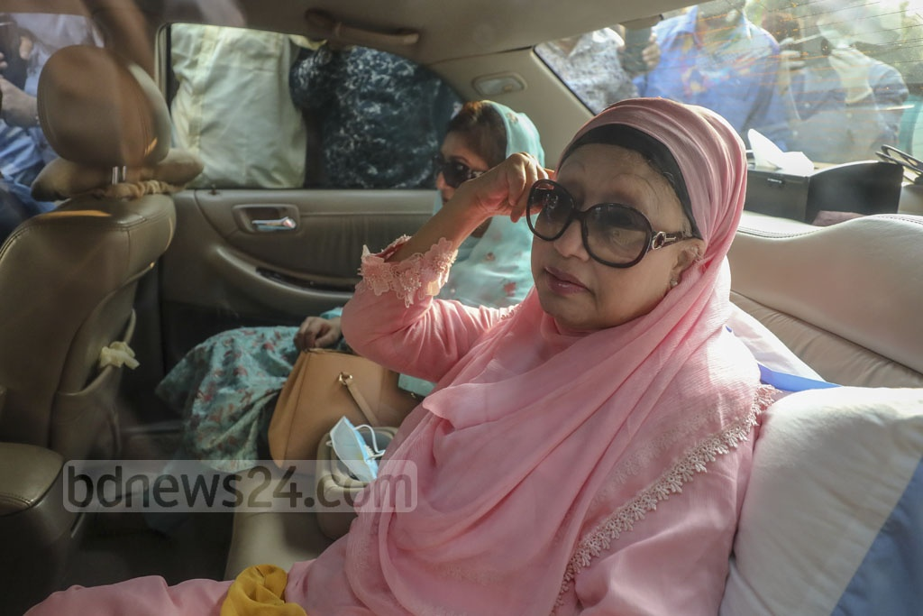 BNP Chairperson Khaleda Zia was released from BSMMU on Wednesday after 25 months behind bars. The government suspended her prison term for six months conditionally on 'humanitarian grounds' amid a surge in coronavirus cases. Photo: Asif Mahmud Ove