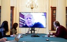 Britain's Prime Minister Boris Johnson appears on monitors for the coronavirus disease (COVID-19) meeting in London, Britain March 28, 2020. Reuters