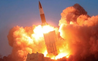 A suspected missile is fired, in this image released by North Korea's Korean Central News Agency (KCNA) on Mar 22, 2020. REUTERS