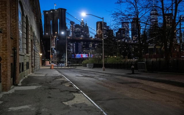 An empty street is seen during the outbreak of the coronavirus disease (COVID-19) in Brooklyn, New York City, US, Mar 27, 2020. REUTERS