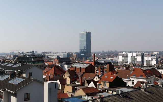 A general view shows the South Tower during the lockdown imposed by the Belgian government to slow down the coronavirus disease (COVID-19) outbreak, in Brussels, Belgium, March 27, 2020. REUTERS