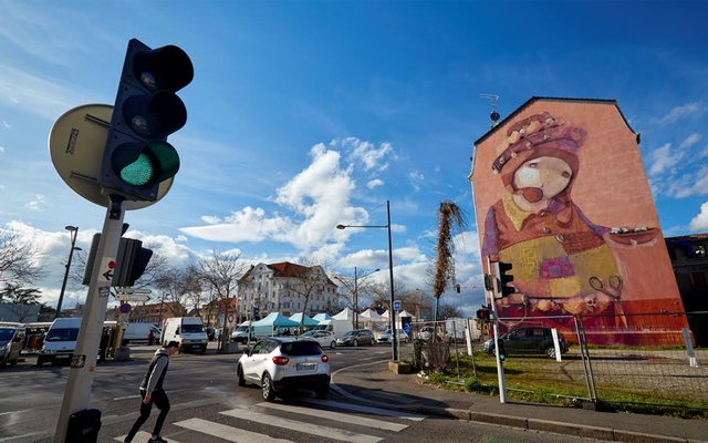 A mural is pictured during the outbreak of the coronavirus disease (COVID-19) in Mulhouse, France Mar 12, 2020. REUTERS