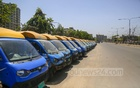 Small passenger carriers are parked beside a street in Dhaka during a shutdown over the novel coronavirus outbreak. Photo: Mahmud Zaman Ovi