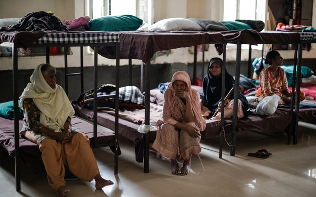 People at a homeless shelter for women and children in New Delhi, March 26, 2020. The New York Times
