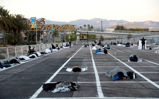Las Vegas places homeless people in a parking lot, 6 feet apart