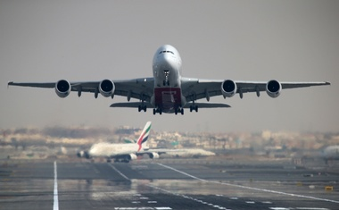 An Emirates Airline Airbus A380-800 plane takes off from Dubai International Airport in Dubai, United Arab Emirates Feb 15, 2019. REUTERS