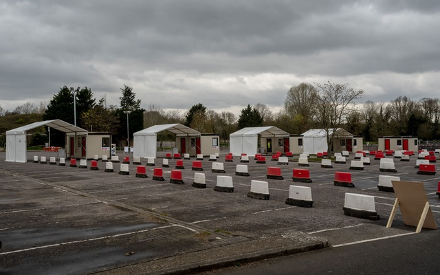 A drive-through coronavirus testing station for health workers in Chessington, England, Mar 30, 2020. The New York Times