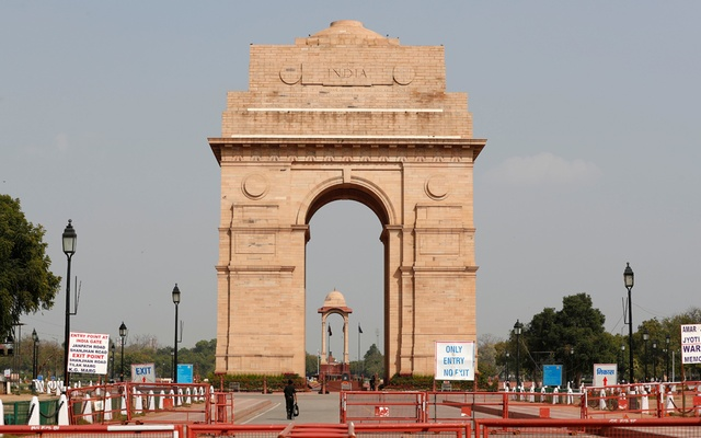 A view shows the India Gate war memorial after it was closed for visitors amid measures for coronavirus prevention in New Delhi, India, March 19, 2020. REUTERS