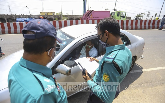 Police have fined people in Dhaka for leaving home without proper reason during a lockdown over the coronavirus outbreak.